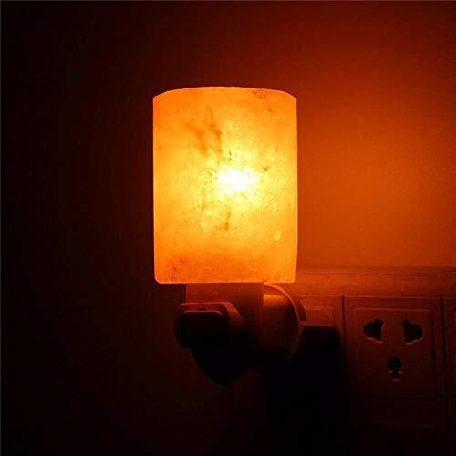 Himalaya-LED-zoutlamp in warm wit van natuurlijk kristal handgesneden nachtlampje voor verlichting van decoratie en luchtreiniging met stekker
