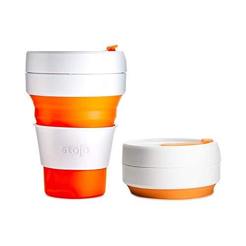 STOJO Tasse Pliable, Silicone, Orange, 5 x 9 x 9 cm