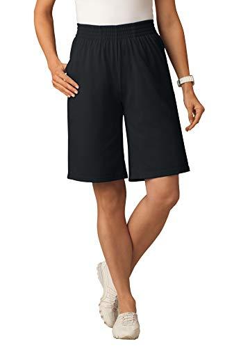 Woman Within Women's Plus Size Jersey Knit Short - L, Black