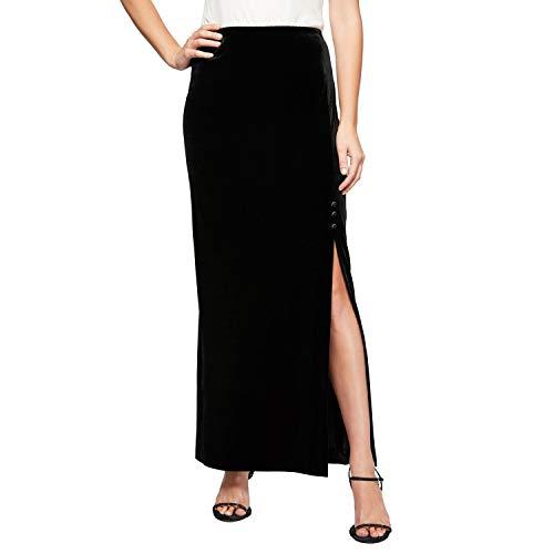 Alex Evenings womens Long Stretch Velvet (Petite and Regular Sizes) Skirt, Black Velvet, Large US