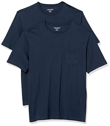 Amazon Essentials Herren 2-pack Loose-fit Crewneck Pocket T-shirt, dunkles marineblau, XXL