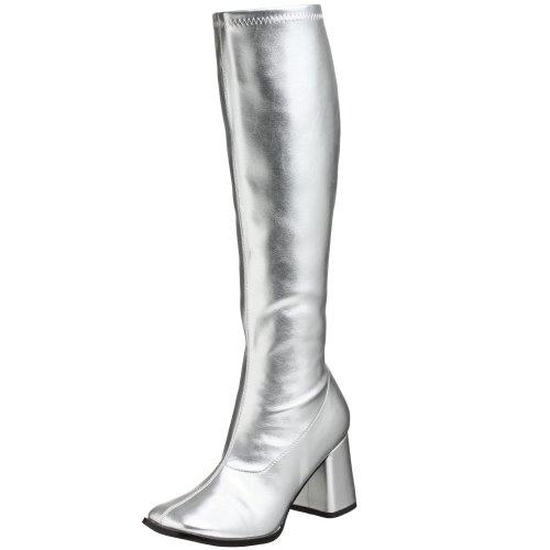 Pleaser Damen Gogo 300 Langschaftstiefel, Silber (Silver), 40 EU