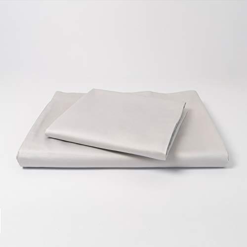 cloudlinen Bettwäsche Set aus 100% Extra-Langstapeliger Premium Baumwolle - 135x200 cm (Bettbezug) + 80x80 cm (Kissenbezug) - grau einfarbig/unifarben - kuscheliger, Warmer und weicher Mako Satin