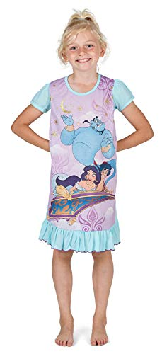 Camicie da notte per bambine a tema personaggi Disney, Re Leone, Aladdin, Cenerentola, Paw Patrol, La Sirenetta | Prodotto Ufficiale per bambini, abbigliamento da notte Aladdin. 3-4 Anni