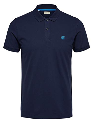 SELECTED HOMME Herren SLHARO SS Embroidery Polo W PS Polohemd, Peacoat, 4XL