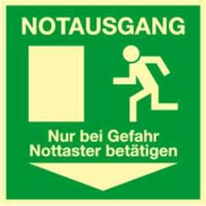 Fluchtschild: Notausgang Nur bei Gefahr Nottaster betätigen Folie HIGHLIGHT 14,8 x 14,8cm Leuchtdichte: HIGHLIGHT 48 mcd/m²