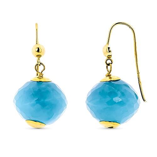 Pendientes oro 18k mujer largos 28 mm. piedra color azul