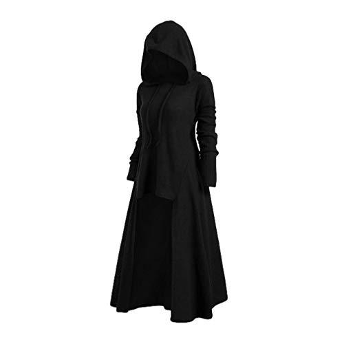 Mxssi Vintage Halloween Renaissance Mittelalter Kleid mit Kapuze Damenkostüm Retro Langarm Abendkleid Kostüm Lang Pullover Midikleid Plus Größe Gr. XXL, Schwarz