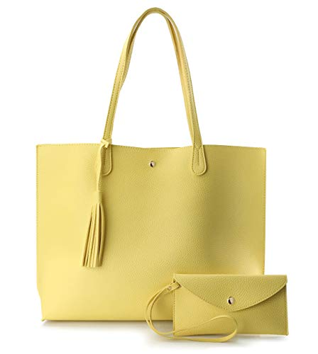 Minimalist Clean Cut Pebbled Faux Leather Tote Womens Shoulder Handbag (Yellow)