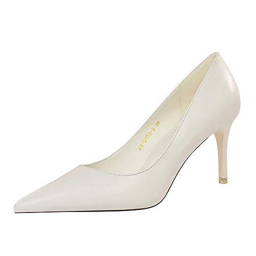 BIGABIGA Mujer Moda Tacón de Aguja Pumps Sin Cordones Puntiagudo Pumps Zapatos Solid Oficina Zapatos White-10.5 Talla 37 Asiática
