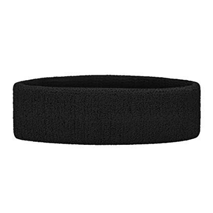 R LON Along Black Outdoor Fitness Sports Sweatband Headband Yoga Gym Unisex Head Band