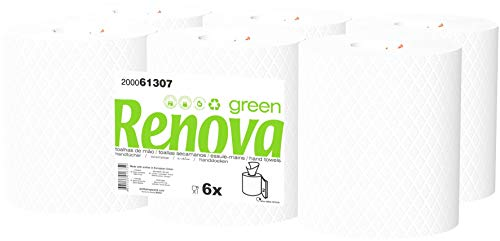 Renova Green Bobinas Secamanos | 6 Bobinas de 96 Metros | Papel Blanco 2 Capas | Certificado Ecolabel