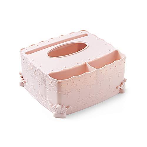 HUI JIN Casetta Porta fazzoletti Multifunzione da scrivania con Telecomando Rosa