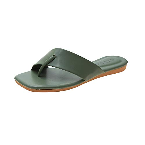 HUSHUI Bañarse Sandalias Zapatillas para Mujer,Sandalias Tejidas Flip-Flop, Chanclas cómodas y Casuales en la Playa-Green_35,Zapatos de Playa y Piscina para