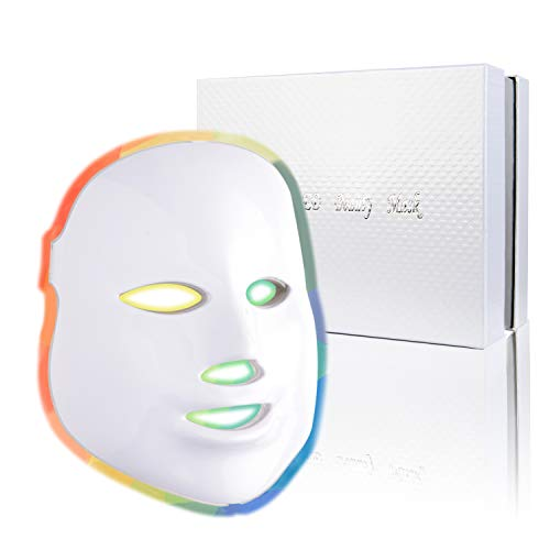 Led Face Mask - 7 Color Photon Blue Red Light Therapy Skin Rejuvenation Facial Skin Care Mask Therapy For Healthy Skin...