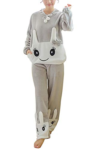 ORANDESIGNE Femme Ensemble de Pyjamas Animal Dessin Mignon Grenouillère Vêtement de Nuit Epaississement Automne Hiver Fleece Dames Polaire Costume Chaud Deux Pièces Gris Lapin FR 38