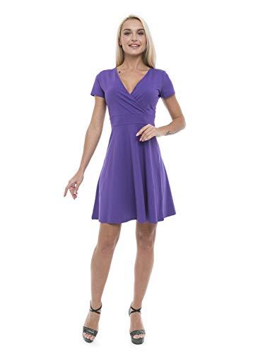 ABAKUHAUS Vestido de Verano de Escote Cruzado para Dama, S, Púrpura