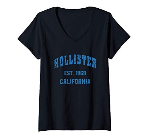 Mujer Hollister, California Home Souvenir . EST. 1868 . blue Camiseta Cuello V