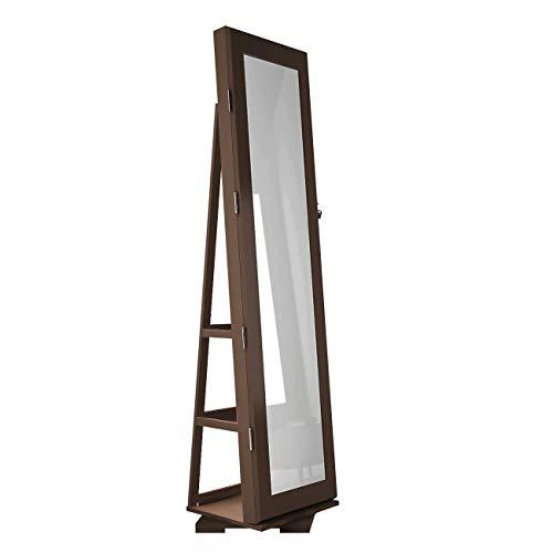 DlandHome Schmuckschrank mit Spiegel in voller Länge & 360 ° drehbarer Basis, Spiegelschrank Stehend abschließbarer, Standspiegel Winkel Einstellbar, Aufbewahrungsschrank für Schmuck,Braun