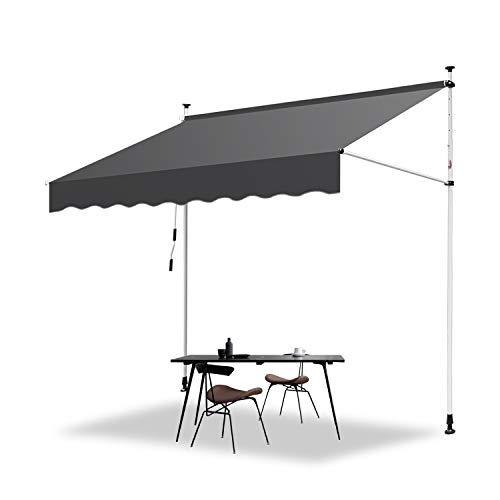 Hengda Markise Einziehbar Klemmmarkise Balkonmarkise Sonnenschutz ohne Bohren Höhenverstellbar (200 x 120 cm, Grau)