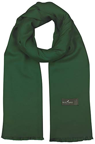 Bleu Nero Luxurious Winter Scarf Premium Cashmere Feel Solid Colors Men and Women (Hunter Green)