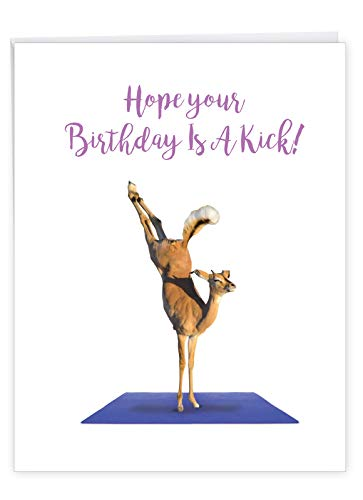 Wildlife Yoga Antelope - Yoga Wildlife Birthday Greeting Card with Envelope (Large 8.5 x 11 Inch) - Wild Animal Bday Notecard for Kids, Adults - Appreciation, Congratulations Card for B-day J7030IBDG