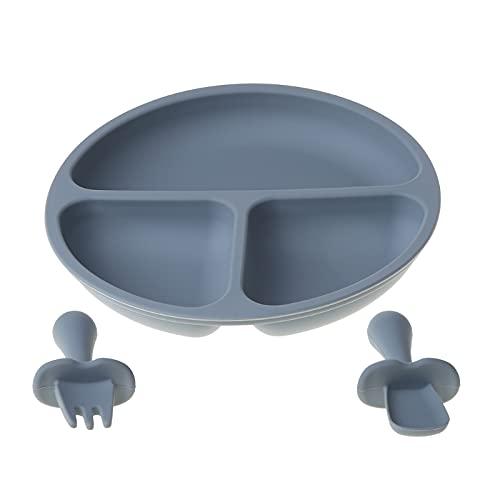 goodluccoy 3 unids/Set vajilla de Silicona para bebé Plato de Cena de Color sólido Cuchara para niños Plato Tenedor y Cuchara de Entrenamiento