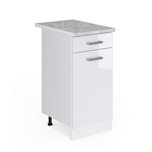 Vicco Küchenschrank R-Line Küchenzeile Hängeschrank Unterschrank Küchenschränke Küchenunterschrank Arbeitsplatte (weiß mit Arbeitsplatte, Schubunterschrank 40 cm)