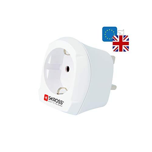 Skross 1.500230-E - Netzstecker-Adapter (Typ D (VK), Typ C (Euro-Stecker), 100-250 V, 10 A, Weiß, 3250 W)