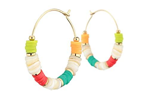 Ikita - Pendientes de aro, metalización, color dorado, multicolor, 30 mm de diámetro