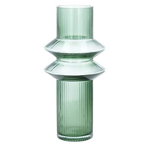 Nordal Vase Rilla M Grün H 32 cm Rillenmuster Grün Handarbeit Glas