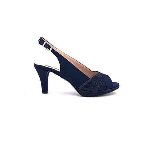 Melluso J590N, Sandalo Donna Elegante in Raso ed Inserti in Lurex (Notte, Numeric_38)