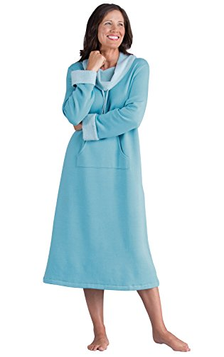 PajamaGram Soft Nightgowns for Women - Long Sleeve Nightgown, Teal, M, 8-10