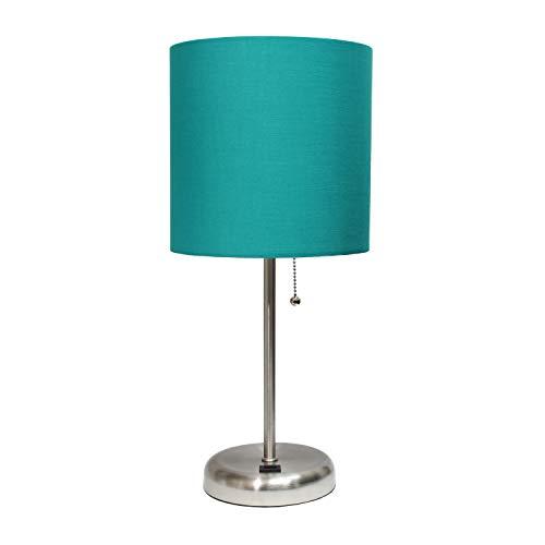 Limelights Stick USB puerto de carga y tela sombra lámpara de mesa, Contemporáneo, Verde azulado