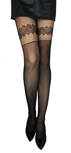 Marilyn modische Strumpfhosen im halterlosen Look, 20 Denier, Größe 40/42 (M/L), Farbe Beige (beige)