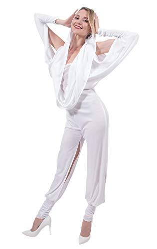 ORION COSTUMES Damen Australischer Popstar Weißer Overall mit Kapuze Maskenkostüm