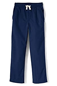 Lands' End Boys Iron Knee Pull On Plain Front Pant Deep Sea Navy Big Kid Small