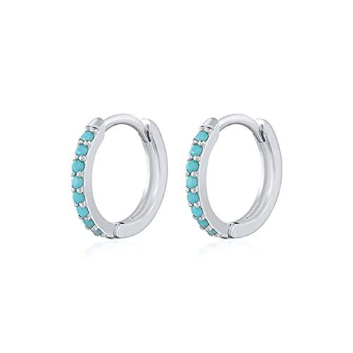 Pendientes de plata 925 esterlina para mujeres/hombres Pendientes de aro pequeño oído (Gem Color : B silver, Metal Color : 5mm)
