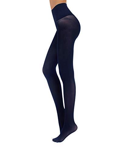 CALZITALY Blickdichte Nahtlose Strumpfhosen Damen | Schwarz, Blau | S, M/L, L/XL | 50 DEN | Made in Italy (L/XL, Blau)