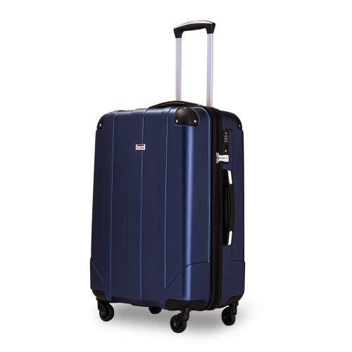 Hard Shell Travel Suitcase Trolley Spinner Case with TSA Lock and Handles, Soft and Extremely Quiet, XL (Blue)