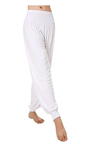 Leisial Pantalones de Yoga Algodón Suave Piernas Pantalones Anchos Sólido Color Elástico Pretina Pantalones Bombachos de Fitness Bailan Deportivo para Mujeres,Negro XL (Blanco - XL)