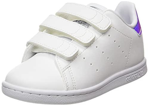 adidas Stan Smith CF, Sneaker Mixte bébé, Cloud White/Cloud White/Silver Metallic, 21 EU