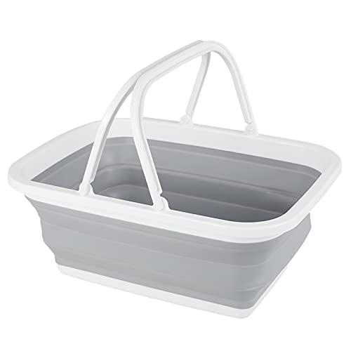 SkadMan Cubeta de Hielo Cubo Plegable con Mango Espesado Camping Camping Wash Bucket Plato de Lavado Cubierta de Lavabo Cubeta Hoja al Aire Libre Bar en casa