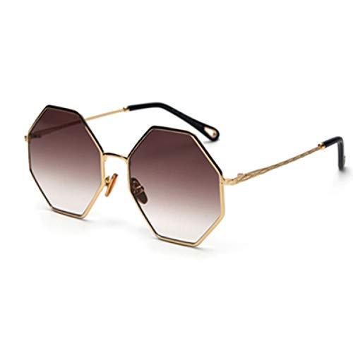 IJEWALRY Frauen Sonnenbrillen Brillen,Große Achteck Sonnenbrille Frau Trend Gold Schwarz Gradient Übergroße Sonnenbrille Für Männer Vintage Uv400 Polygon Gold Mit Braun