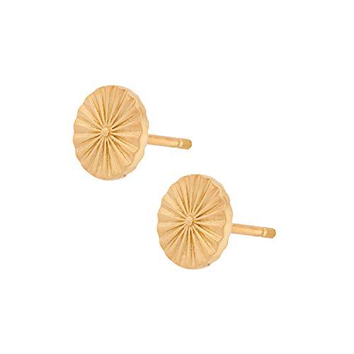 Pernille Corydon Ohrstecker Plättchen Gold Damen - Sun Earsticks/Shades of Summer Serie - 0,8 cm Durchmesser - Silber vergoldet - E677g