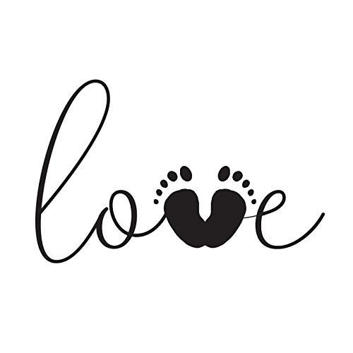 Aladine - Tampon Naissance - Support En bois - Réalisation de Faire Part de Naissance - Scrapbooking et Carterie Créative - Grand Format - Motif Love et Empreinte de Petits Pieds