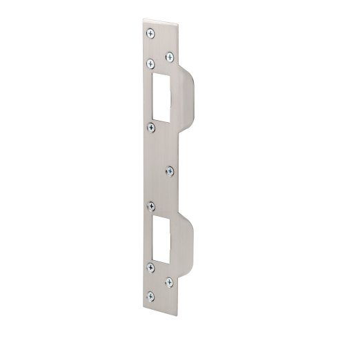 Defender Security U 10385 Prime Line Door Strike, for Use with 5-1/2 in and 6 in Hole Spacing's On Dead Latch and Deadbolt, Steel, Satin Nickel