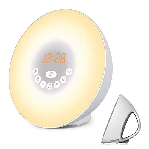 WENL Luz con Reloj Despertador, Radio FM Reloj Despertador Relo Doble, 7 Colores, 8 Tipos de Tonos de Timbre, función de repetición, Simulación de Amanecer/Atardecer, luz Ajustable con Cargador