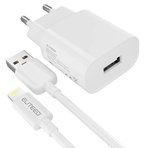 ELITEED Cargador de batería [Certificado Apple MFi] Compatible con iPhone 5 5C 5S 6 SE 6S 7 8 X XS XR XS Max Fuente de alimentación y cable