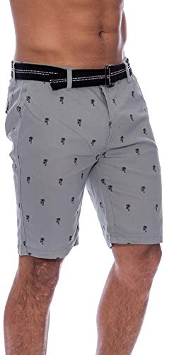 TR Fashion Men's Bahamas Cotton Striped Belted Shorts with Button Closure (Grey Palms, 36)